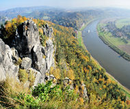 Steamer in the Upper Elbe Valley in Saxony. View from the Bastei in the Saxon Switzerland in Germany on the Elbe; colorful deciduous forests, on the Elbe a Royalty Free Stock Image