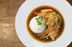 Steames salmon fish with rice and shoyu sauce. Steamed salmon fish with soy sauce and rice stock images