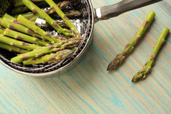 Steaming asparagus Stock Image