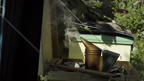 Steaming bee smoker. Instrument to fumigate beehives and bees stock video