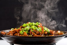 Steaming beef. Chinese style steaming beef stew with vegetable royalty free stock photo