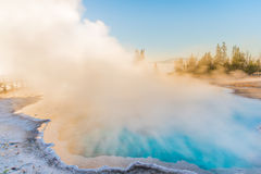 Steaming blue hot spring in Yellowstone National Park. A blue and turquoise hot spring in the sunrise with a large cloud of steam rising towards the sky Stock Images