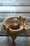 Steaming bronze brazier Royalty Free Stock Photography