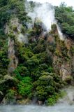 Steaming Cathedral Rocks, Waimangu Volcanic Valley Stock Photos