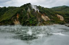 Steaming Cathedral Rocks, Waimangu Volcanic Valley Royalty Free Stock Photography