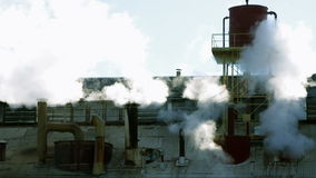 Steaming chimneys detail stock video