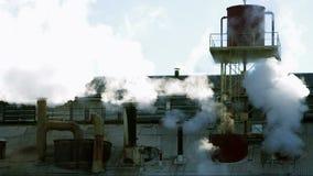 Steaming chimneys detail stock video