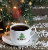 Steaming Christmas Cup of Coffee Stock Image