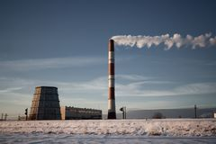 Steaming coal powerplant Royalty Free Stock Image