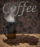 Steaming coffe mug and roasted coffee beans Stock Images