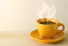 Steaming Coffee Cup On Table Royalty Free Stock Image