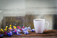 Steaming coffee cup Stock Images