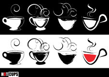 Steaming coffee cups. Graphic of steaming coffee cups full of hot coffee Stock Image