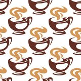 Steaming coffee cups or chocolate seamless pattern Stock Photography