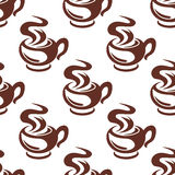 Steaming coffee cups retro seamless pattern Stock Photo