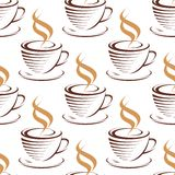 Steaming coffee cups seamless pattern Stock Photo