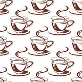 Steaming coffee cups seamless pattern Stock Photos