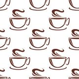 Steaming coffee cups seamless pattern Stock Photography