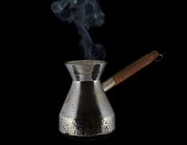 Steaming coffee pot Royalty Free Stock Images