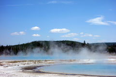 Steaming, colorful caldera at yellowstone park Royalty Free Stock Photography