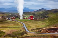 Steaming cooling tower at Krafla geothermal power plant Northeastern Iceland Scandinavia. Steaming cooling tower at Krafla geothermal power plant, the largest stock photography