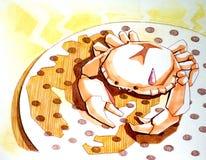 Steaming crab fun illustration Stock Photo