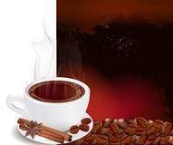 Steaming cup of coffee with cinnamon Stock Image