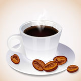 A steaming cup of coffee and coffee beans Royalty Free Stock Image