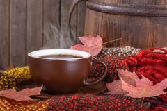 Steaming Cup of Coffee on a Rustic Background stock images