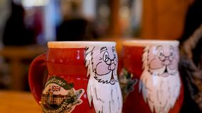 Steaming Cup of Hot Mulled Gluehwein at German Market in British Town Stock Image