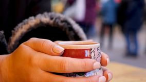 Steaming Cup of Hot Mulled Gluehwein at German Market in British Town Stock Photos
