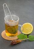 Steaming Cup Of Tea With Teastrainer Royalty Free Stock Photography
