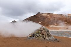 Steaming Fumarole in Geothermal at Namafjall Geyser in Myvatn