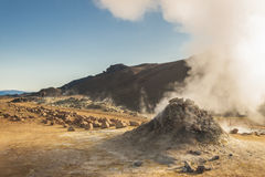 Steaming fumarole in  Namafjall in north Iceland Royalty Free Stock Photos