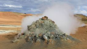 Steaming fumaroles Hverir in Iceland stock footage