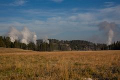 Steaming Geysers stock photography