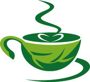 Steaming green coffee cup Stock Photos
