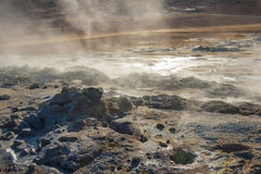 Steaming ground in  Namafjall in north Iceland Royalty Free Stock Photography
