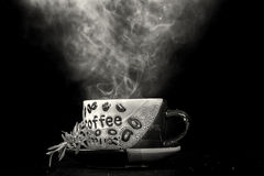 Steaming hot cup of coffee Royalty Free Stock Photos