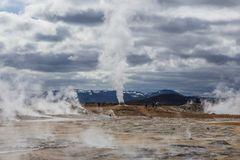 Geothermal spring hot water energy plant near Myvatn Stock Image