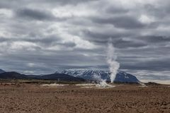 Geothermal spring hot water energy plant near Myvatn. Steaming hot water from Krafla volcano in Iceland Stock Photography