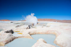 Steaming hot water ponds on the Andes, Bolivia Royalty Free Stock Photo