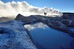 Steaming hot water ponds and mud pots Royalty Free Stock Image
