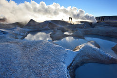 Steaming hot water ponds and mud pots Royalty Free Stock Images