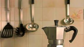 Steaming Italian Coffe Maker stock video