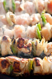 Steaming kebabs on the grill close-up Stock Image