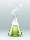 Steaming laboratory flask Stock Photo