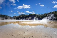 Steaming lake in Waiotapu, Rotorua, New Zealand Stock Image