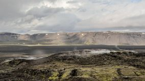 Steaming lava fields of Krafla volcanic system, located north of Lake Myvatn in North Iceland. royalty free stock images