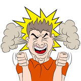 Steaming Mad Male Cartoon. An image of a cartoon of a man who is fuming mad vector illustration
